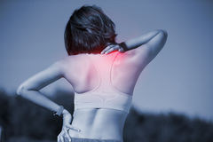 Sport woman feel pain Royalty Free Stock Photos