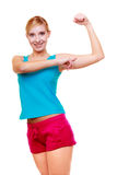 Sport woman fitness girl showing her muscles. Power and energy. Isolated. Stock Image