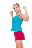 Sport woman fitness girl showing her muscles. Power and energy. Isolated. Happy sport young woman fitness girl showing her muscles. Power and energy concept Royalty Free Stock Image