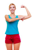 Sport woman fitness girl showing her muscles. Power and energy. Isolated. Happy sport young woman fitness girl showing her muscles. Power and energy concept Stock Photos