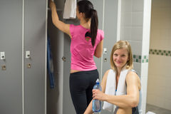 Sport woman in gym's locker room Stock Photo