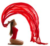 Sport Woman Gymnastics Workout with Fluttering Cloth, Beautiful Gymnast Girl in Red Leotard Costume, White royalty free stock image