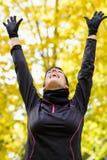 Sport woman happy victory Stock Photos
