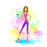 Sport woman hold shaker drink fitness trainer girl. Sport woman hold shaker drink fitness trainer, hot sexy girl bodybuilder athletic muscle over colorful splash Stock Photography