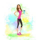 Sport woman hold shaker drink fitness trainer, hot. Sexy girl bodybuilder athletic muscle over colorful splash paint  background, vector illustration Royalty Free Stock Photo