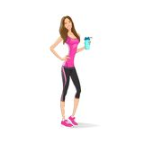 Sport woman hold shaker drink fitness trainer, hot. Sexy girl bodybuilder athletic muscle over white background, vector illustration Royalty Free Stock Image