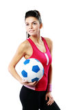 Sport woman holding a soccer ball Royalty Free Stock Photo