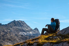 Sport Woman In Mountains Royalty Free Stock Images