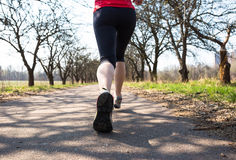 Sport woman jogging outside in spring park early morning Royalty Free Stock Photography