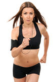 Sport woman jogging, running, listening music Stock Photo