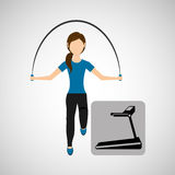 Sport woman jumping rope and walking machine Royalty Free Stock Images