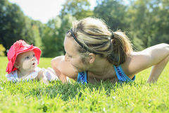 Sport woman outside baby Stock Photography