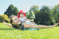 Sport woman outside baby Royalty Free Stock Photos