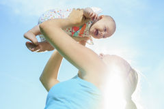 Sport woman outside baby Royalty Free Stock Images
