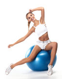Sport woman in perfect shape with green measure. Healthy lifest royalty free stock photography