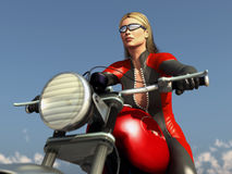 Sport woman racing on motorcycle Royalty Free Stock Photography