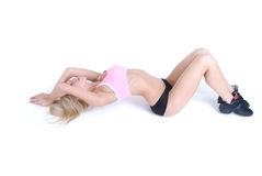 Sport woman relaxing on white Stock Images