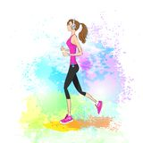 Sport woman run with fitness tracker on wrist girl Royalty Free Stock Images
