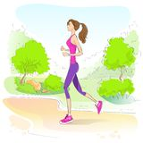 Sport woman run with fitness tracker on wrist girl Royalty Free Stock Image