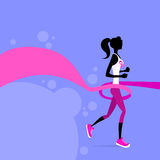Sport Woman Running Pink Ribbon Breast Cancer Royalty Free Stock Photo