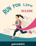 Sport Woman with Running Pink Ribbon, Breast Cancer Awareness. poster for running competition Royalty Free Stock Photos