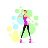 Sport Woman Show Bicep Muscles Fitness Trainer. Over Colorful Background, Vector Illustration Stock Image