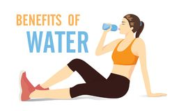 Sport woman sitting on the floor for drinking water from bottle. Illustration about benefit of water and exercide stock illustration