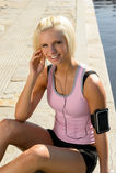 Sport woman smiling relax water listen music Stock Photos