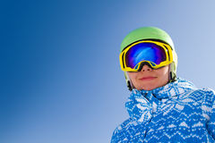 Sport woman in snowy mountains Royalty Free Stock Photography