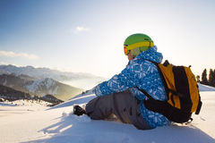 Sport woman in snowy mountains Royalty Free Stock Image