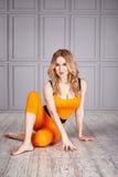 Sport woman suit yoga Stock Images