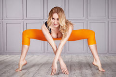 Sport woman suit yoga. Woman gymnast athlete beautiful blonde dressed in a special costume for fitness yoga sport tight-fitting clothing made of nylon, diet Stock Photos