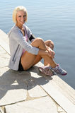 Sport woman summer relax water pier Stock Photo