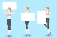 Sport woman take billboard. Beauty cartoon sport woman take billboard with blue background Stock Photography