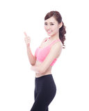 Sport woman thump up Royalty Free Stock Photos
