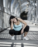 Sport Woman Tired And Exhausted Breathing And Cooling Down After Running Royalty Free Stock Images