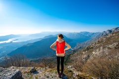 Sport woman on the top of mountain Royalty Free Stock Photos