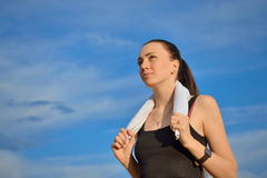 Sport woman with towel Stock Photography