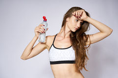 Sport woman with water Stock Photography