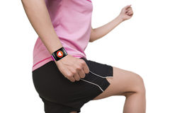 Sport woman wearing bright pink watchband curved touchscreen sma Stock Photography
