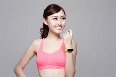 Sport woman wearing smart watch Royalty Free Stock Photography