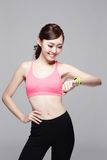 Sport woman wearing smart watch Stock Images