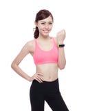 Sport woman wearing smart watch Stock Photos