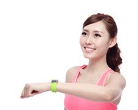 Sport woman wearing smart watch Royalty Free Stock Image