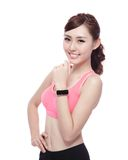 Sport woman wearing smart watch Royalty Free Stock Photography