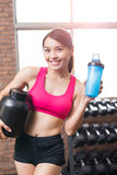 Sport woman with whey protein Royalty Free Stock Image