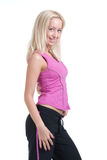 Sport woman on white background. Beautiful slavonic woman on white background Royalty Free Stock Photo