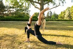 Sport women doing yoga outside in morning. Fitness girls relax in park royalty free stock photography