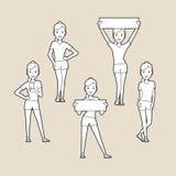 Sport women. silhouettes set. Royalty Free Stock Photo