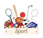 Sport wood board banner with Soccer Ball  Stock Photography